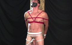 bondage man get handjob