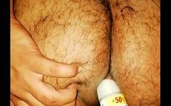 Pakistani fat boy enjoying dildo