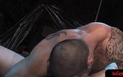 Hunky tattooed bdsm lover fisting ass