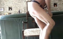 gaping my ass vith balls and huge dildos