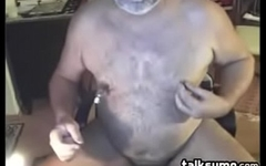 Old Bear Playing With His Nipples