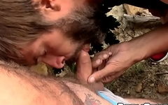 Bald amateur with a beard wanks off outdoors and gets sucked dry
