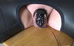estm e-stim electro cum sperm load milking with chastity cage