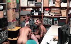 Gay thief gets blowjob and rides cock