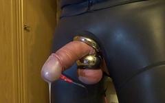 Estim e-stim cock cum sperm milking with cockring and ballstretcher