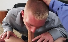POV office stud cocksucking his horny boss