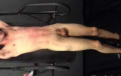 DADDY MAKES YOUNG BOUND TEEN BOY CUM 4 TIMES WHILE WHIPPED &amp_ BEATEN - BDSM Gay Bondage