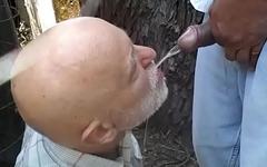 dad drink piss outdoor