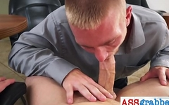 Queer stud gives head in the office to gay in POV