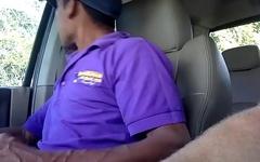 Hidden cam straight latino construction worker cums jerking to porn in my truck (Martin 1)