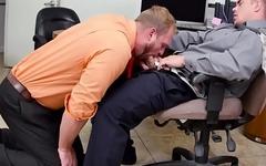POV drilled office stud sucking hard cock