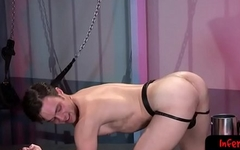 Twink wrenches big dildo up tight butt