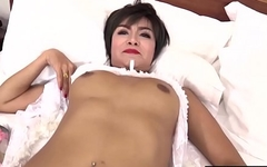 Asian busty shemale in white lingerie anal felt that