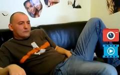 man in jeans masturbate dick at home