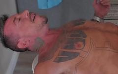 Tattooed wolf gets barebacked by stud
