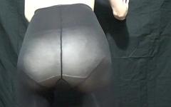Guy in Pink Leotard Panties and Pantyhose Masturbation