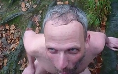 faggot drinks piss in the woods