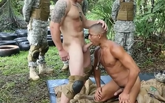 Ebony soldier fucked outdoors after sucking