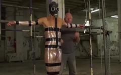 UK twink Casper Ellis strapped for BDSM handjob cumshot