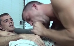 Gay freak licks and blows a massive dick with pleasure