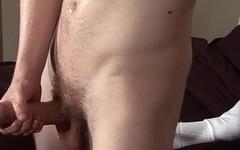 Dildo fucked brit tugging his cock
