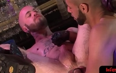 Hairy submissive fisted by hunky top