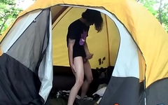 Skinny looking twink thug camping and masturbation solo
