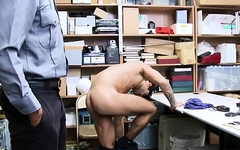 Straight Young Latino With Muscles Blackmailed By Gay Black Security Guard