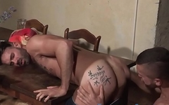 Hairy hunk licking ass