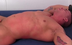 Buffed up stud tickled while tied up by two gay deviants