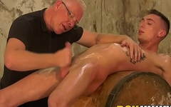 Twinkie tied up on a barrel and jerked off by old pervert