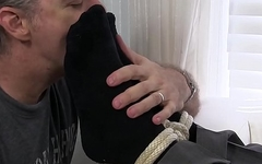 Old guy got tied up and has his toes sucked by a freak