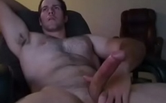 Muscular and Hairy Man Busts a Nut after Work