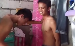 Asian boy gutpunch