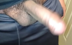 Me jerking my uncut Latin cock to nice cumshot with a squirt of piss.