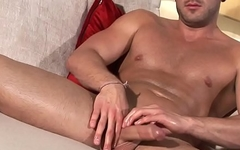 Hunky euro muscle masturbates and cums