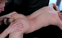 Teen twink rimmed and fingered before anal