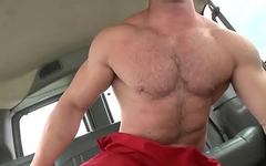 BAIT BUS - Muscle Hunk Max Strong Tricked Into Sucking Off James Jamesson, Regrets His Decision