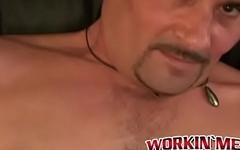 Tattooed old boy with pierced nipples jerking off hard