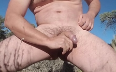Self CBT in desert - ballbusting and cockslapping