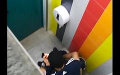 Caught wanking in public toilet