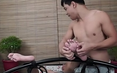 Asian Twink tickling and foot fetish