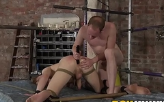 Bottom slave drilled in the ass and toyed by dominant master