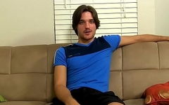 Handsome gay dude has an solo interview and masturbates