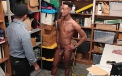 Black gay thief fucks horny security guard from behind