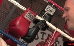 Boxer jock takes fist all in during bdsm sesh